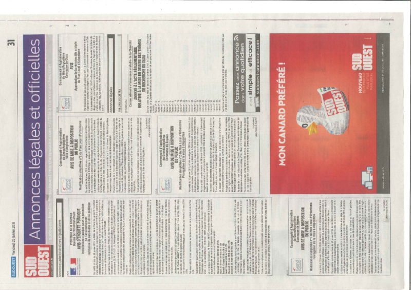 Insertion presse Sud Ouest