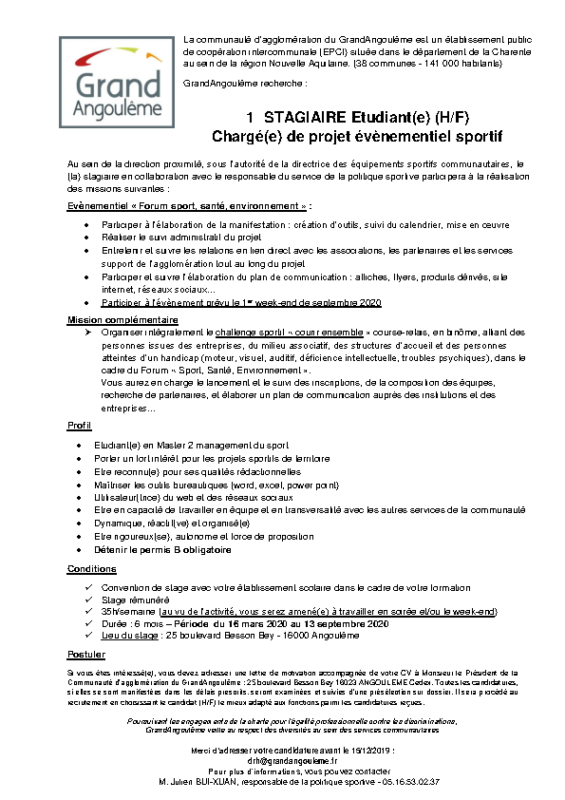 Stagiaire sport