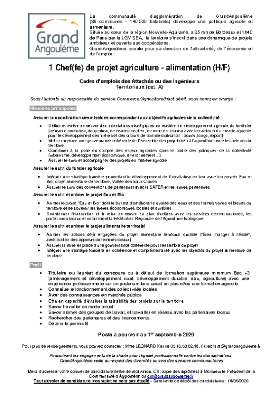 Offre n°26 – Charge de mission agriculture