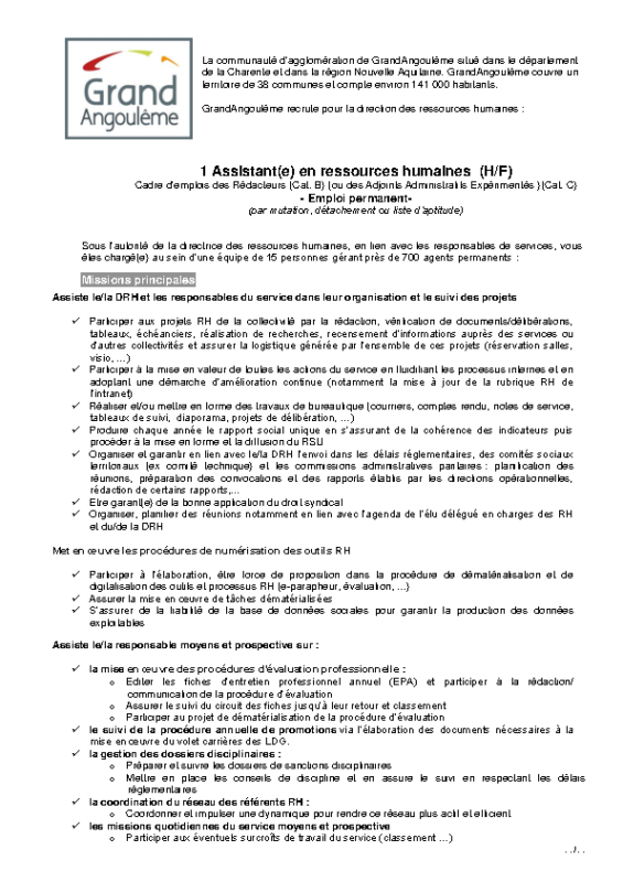 Offre n°46 – Assistante Ressources Humaines